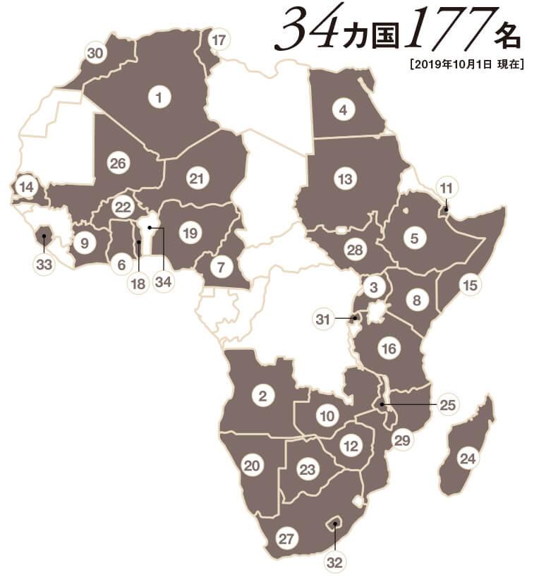 KICではアフリカの34カ国から177名を受け入れています。