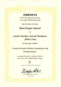 BestPaperAward(CME2015)